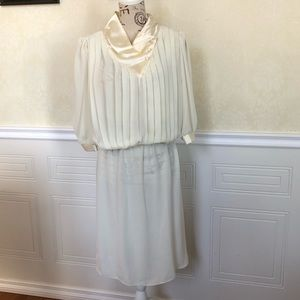 Vintage Sheer & Pleated Blouson White Dress